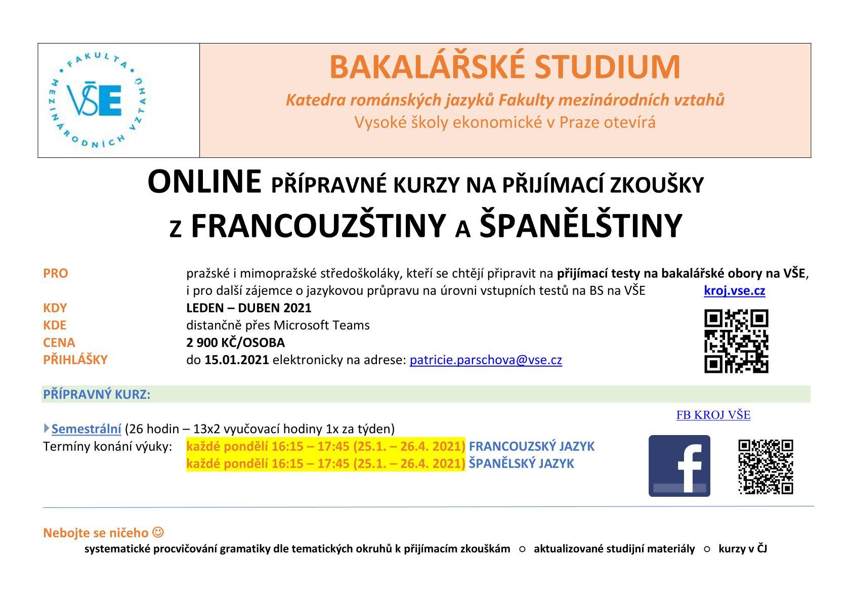 Posunut termín přihlášek pro přípravné kurzy na přijímací zkoušky z francouzštiny a španělštiny